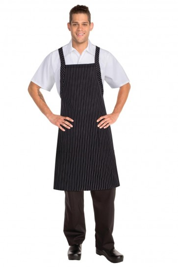 Chef Works Cross Over Black Bib Apron - Black & White Pinstripe