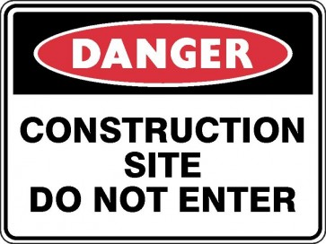 DANGER CONSTRUCTION SITE DO NOT ENTER Sign 450 x 300mm Flute