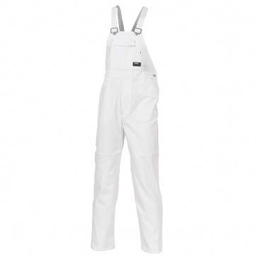 DNC Cotton Drill Bib And Brace Overall - White