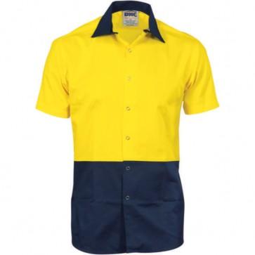DNC Hi Vis Cool Breeze Food Industry Cotton Shirt - Short Sleeve 155gsm (Metal press studs)