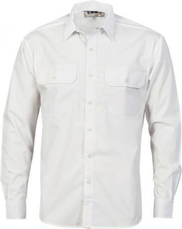 DNC Mens Polyester Cotton Long Sleeve Work Shirt - White