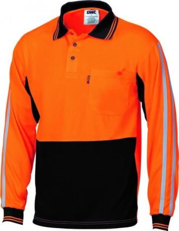 DNC Hi Vis Cool-Breathe Stripe Polo Long Sleeve - Orange Navy