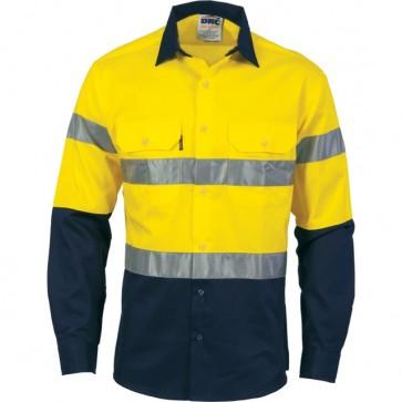 DNC HiVis Cool-Breeze Cotton DN Long Sleeve Shirt - Yellow Navy