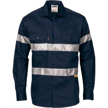 DNC Hi Vis Day Night Long Sleeve Drill Shirt  - Navy