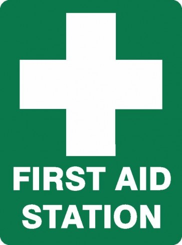 FIRST AID STATION Sign 450 x 300mm Flute