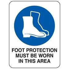 Foot Protection Must Be Worn In This Area Sign 300 225mm Metal