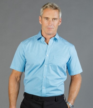 Gloweave Westgarth Men's Gingham Short Sleeve Shirt - Model Teal