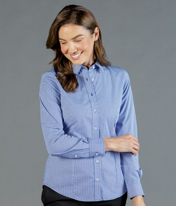 Gloweave Womens Gingham Check Long Sleeve Business Shirt - Navy Model