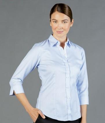 Gloweave Womens Micro Step textured Plain 3/4 Sleeve Business Shirt - Sky