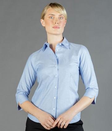 Gloweave Womens Oxford 3/4 Sleeve Business Shirt - Blue