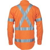 DNC Hi Vis Cool Breeze Cotton Shirt L/Sleeve X Back 3M REF Tape