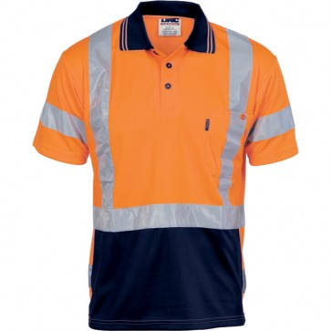 Hi Vis DNC Cool Breathe Polo Shirt S/Sleeve X Back CSR REF Tape 175gsm
