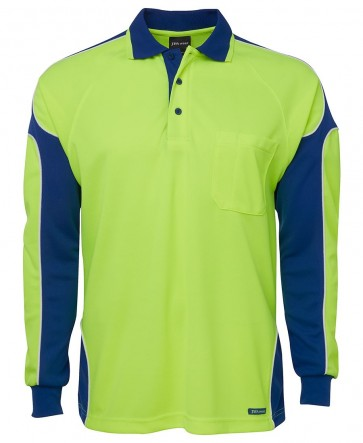 JB's Wear Hi Vis Long Sleeve Arm Panel Polo Shirt - Lime Royal