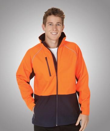 Blue Whale Hi Vis Soft Shell Jacket - Fluoro Orange Navy Model