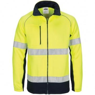 HIVIS 2 Tone full zip fleecy sweat shirt CSR R/Tape - Yellow Navy