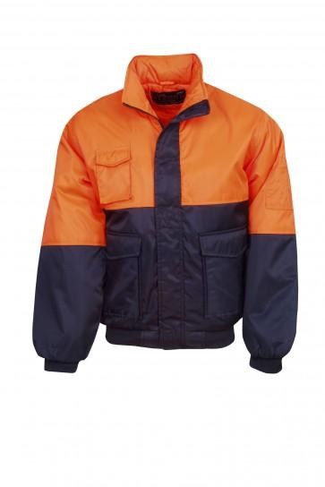 Blue Whale Hi Vis Workmans Arctic Jacket Orange Navy