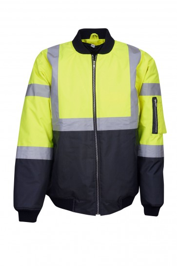 Blue Whale Hi Vis Day Night Flying Jacket Yellow Navy Front J83
