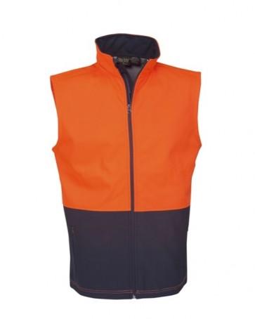 Blue Whale Hi Vis Soft Shell Vest Day Use Only - Orange Navy Front