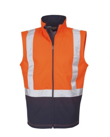 Blue Whale Hi Vis Day Night Soft Shell Vest Day/ Night Use - Orange Navy Front