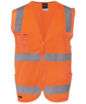 JB's Wear Hi Vis Day Night Zip Safety Vest - Orange Front