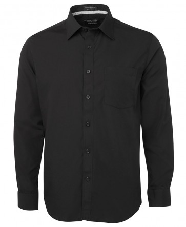 JB's wear Mens Contrast Placket Shirt Long Sleeve Front