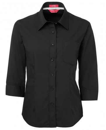 JB's wear Ladies Contrast Placket Shirt 3/4 Sleeve Shirt Front