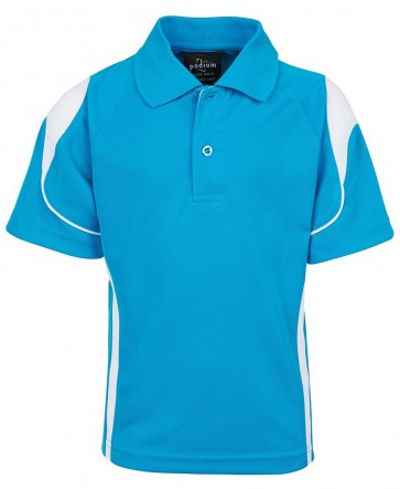 JBs wear Adults Bell Polo - Aqua White