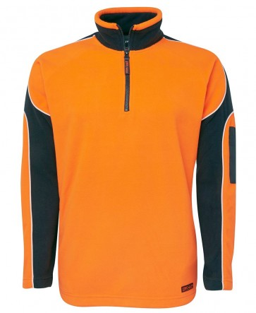 JB's Wear Hi Vis Long Sleeve Arm Panel Polar Fleece - Orange Navy