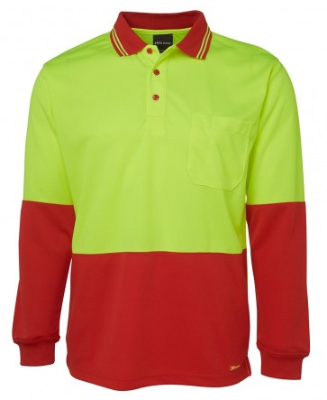 JB's Wear Hi Vis Long Sleeve Trad Polo Shirt - Lime Red