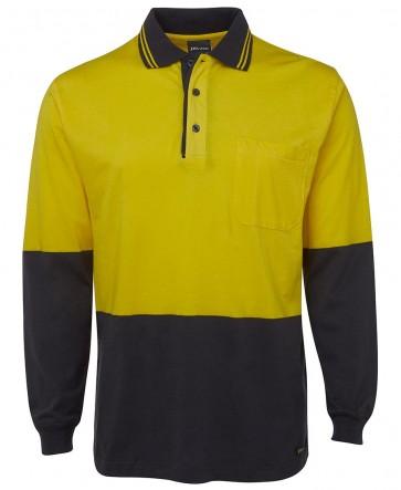 JB's Wear Hi Vis Long Sleeve Cotton Polo Shirt - Yellow Navy