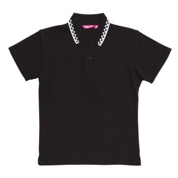 JB's wear Ladies Chef Polo Shirt - Black / White