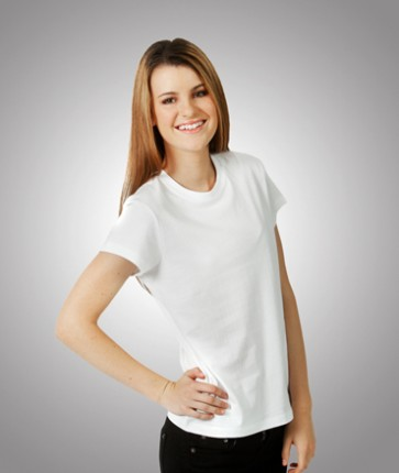 Blue Whale Ladies Eurostyle Soft-Feel Slim Fit T-Shirt - White Model