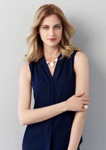 Biz Collection Ladies Madison Sleeveless Shirt - Midnight Blue Model