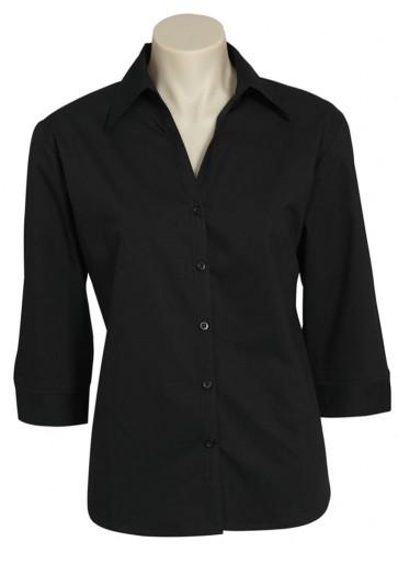 Ladies Metro 3/4 Sleeve Shirt - Black