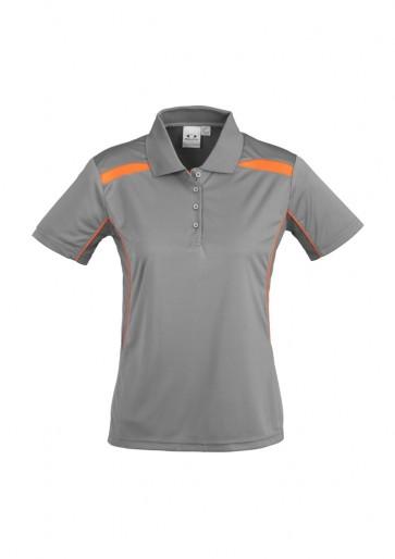 Ladies United Short Sleeve Polo Shirt - Ash Fluoro Orange