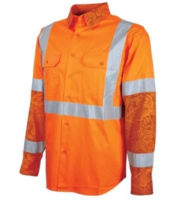 MAXCOOL Indigenous Print HV LS DN NSW Rail Shirt