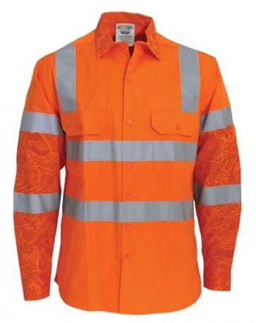 MAXCOOL Indigenous Print HV LS DN VIC Rail Shirt