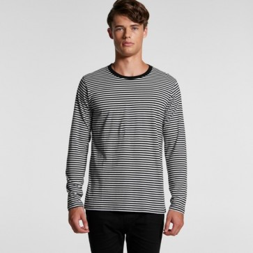 AS Colour Men's Bowery Stripe Long Sleeve Tee - Black Natural Model Front