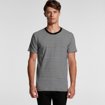 AS Colour Men's Bowery Stripe Tee - Black Natural Model Front