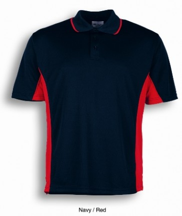 Bocini Mens Breezeway Panel Polo - Navy Red