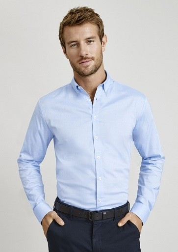 Biz Collection Mens Camden Long Sleeve Shirt - BLUE MODEL