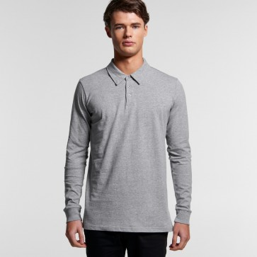 AS Colour Men's Chad Long Sleeve Polo - Grey Marle Model Front