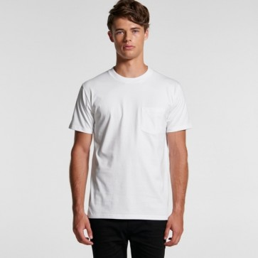 AS Colour Men's Classic Pocket Tee - White Model Front