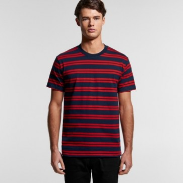 AS Colour Men's Classic Stripe Tee - Navy Red Model Front