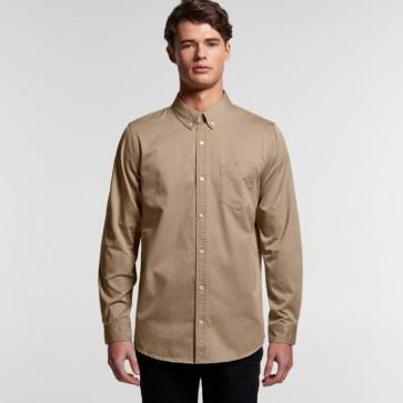 AS Colour Men's Denim Wash Shirt - Khaki Model Front