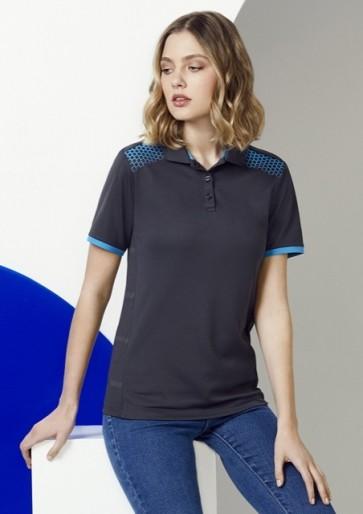 Biz Collection Ladies Galaxy Polo Shirt - Grey Cyan Model