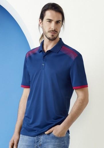 Biz Collection Men's Galaxy Polo Shirt - Steel Blue Magenta Model