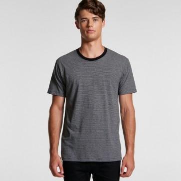 AS Colour Men's Line Stripe Tee - Grey Marle Black Model Front