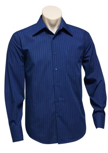 Mens L/S Manhattan Stripe Shirt French Blue White SH840