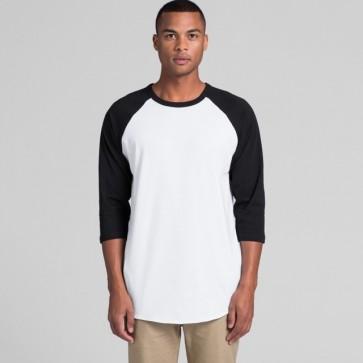 AS Colour Men's Raglan Tee - White Black Model Front
